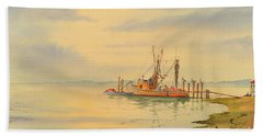 Shrimp Boat Sunset Beach Towel by Bill Holkham