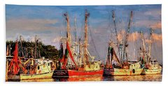 Shrimp Boats Shem Creek In Mt. Pleasant  South Carolina Sunset Beach Towel