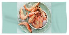 Shrimp On A Plate Beach Sheet by Anfisa Kameneva
