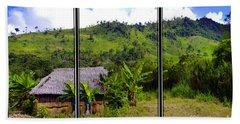 Beach Towel featuring the photograph Shuar Hut In The Amazon by Al Bourassa