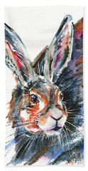 Beach Towel featuring the painting Shy Hare by Zaira Dzhaubaeva