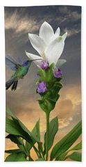 Siam Sparkling Curcuma And Hummingbird Beach Towel