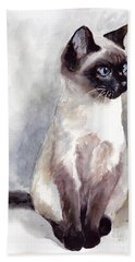 Siamese Kitten Portrait Beach Towel