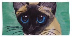 Beach Towel featuring the painting Siamese by Leslie Allen