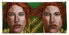 Siamese Twins 5 Beach Towel by Leah Saulnier The Painting Maniac