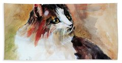 Siberian Forest Cat Beach Towel by Khalid Saeed