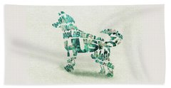 Siberian Husky Watercolor Painting / Typographic Art Beach Towel
