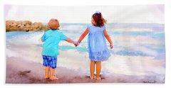 Sibling At Sunset Beach Towel