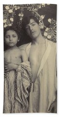 Sicilian Boy And Girl Before Floral Textile Beach Sheet