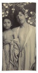 Beach Towel featuring the painting Sicilian Boy And Girl Before Floral Textile by Artistic Panda