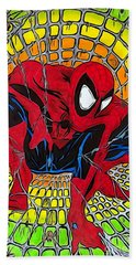 Beach Sheet featuring the drawing Spider-man Illustration Edition by Justin Moore