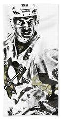 Sidney Crosby Pittsburgh Penguins Pixel Art 4 Beach Sheet by Joe Hamilton