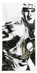 Sidney Crosby Pittsburgh Penguins Pixel Art Beach Towel by Joe Hamilton