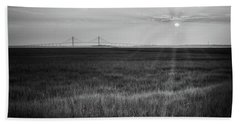 Sidney Lanier At Sunset In Black And White Beach Towel