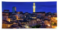 Beach Towel featuring the photograph Siena At Night by Fabrizio Troiani