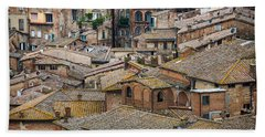 Siena Colored Roofs And Walls In Aerial View Beach Towel by IPics Photography