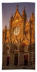 Beach Towel featuring the photograph Siena Italy Cathedral Sunset by Joan Carroll