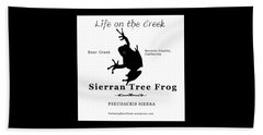 Sierran Tree Frog - Black Graphics Beach Towel