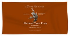 Sierran Tree Frog - Photo Frog, White Text Beach Towel