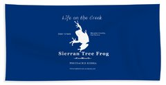 Sierran Tree Frog - White Graphic, White Text Beach Towel
