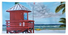 Siesta Key Red Lifeguard Shack Beach Towel