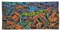 Beach Towel featuring the painting Sighisoara From Above by Jeff Kolker