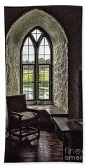 Sights In England - Castle Window 2 Beach Towel by Walt Foegelle