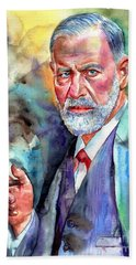Sigmund Freud Painting Beach Towel