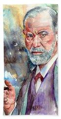 Sigmund Freud Portrait Beach Towel