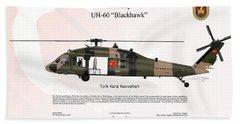 Beach Towel featuring the digital art Sikorsky Uh-60 Blackhawk by Arthur Eggers