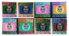Silberzweig - Sugar Skull Mosaic -  Beach Sheet by Sandra Silberzweig