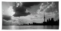 Silhouette Cn Tower Beach Sheet by Nick Mares