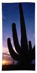 Silhouette Of A Cactus, Four Peaks Beach Towel