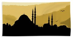 Silhouette Of Mosques In Istanbul Beach Sheet