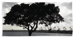 Silhouette Of Tree Beach Towel