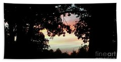 Fall Silhouette Sunset Beach Towel by Donna Brown