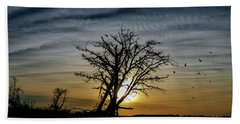Silhouette Sunset Beach Towel