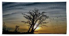 Silhouette Sunset Beach Sheet by Doug Long