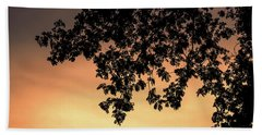 Silhouette Tree In The Dawn Sky Beach Towel by Jingjits Photography