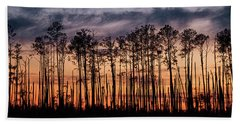 Silhouetted Sunset Beach Towel
