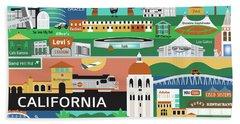 Silicon Valley California Horizontal Scene - Collage Beach Towel