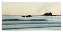 Silky Water And Rocks On The Rhode Island Coast Beach Sheet by Nancy De Flon