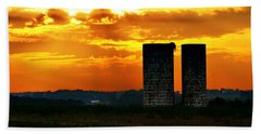 Beach Towel featuring the photograph Silos At Sunset by Michelle Joseph-Long