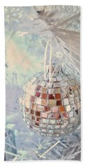 Silver And White Christmas Beach Towel