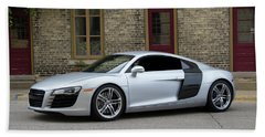 Beach Towel featuring the photograph Silver Audi R8 by Joel Witmeyer