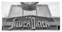 Silver Diner Bw Beach Towel