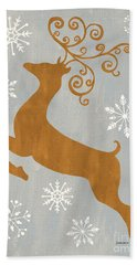 Silver Gold Reindeer Beach Towel