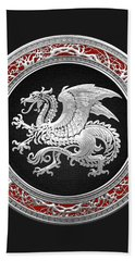 Silver Icelandic Dragon  Beach Towel