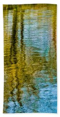 Silver Lake Autum Tree Reflections Beach Towel by Michael Bessler