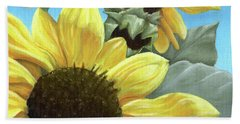 Silver Leaf Sunflower Growing To The Sun Beach Towel